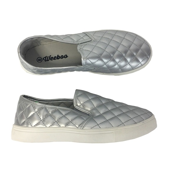 7e5061b46b12b Women's Casual Loafers Size 8 Silver Quilted
